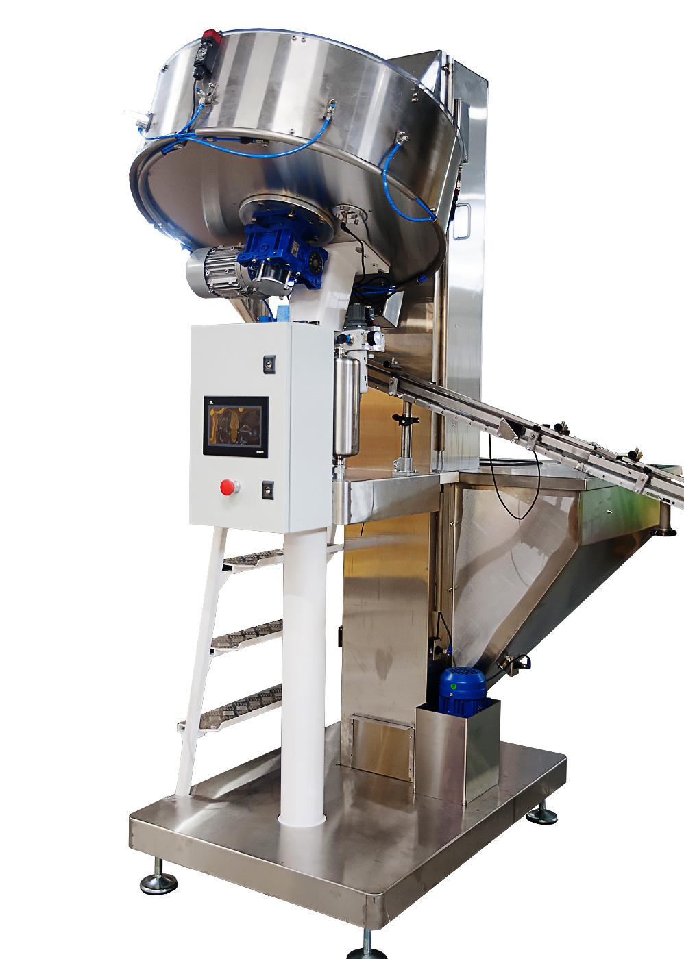 Оборудование для автоматизированной подачи колпачков к машинам в определенном положении